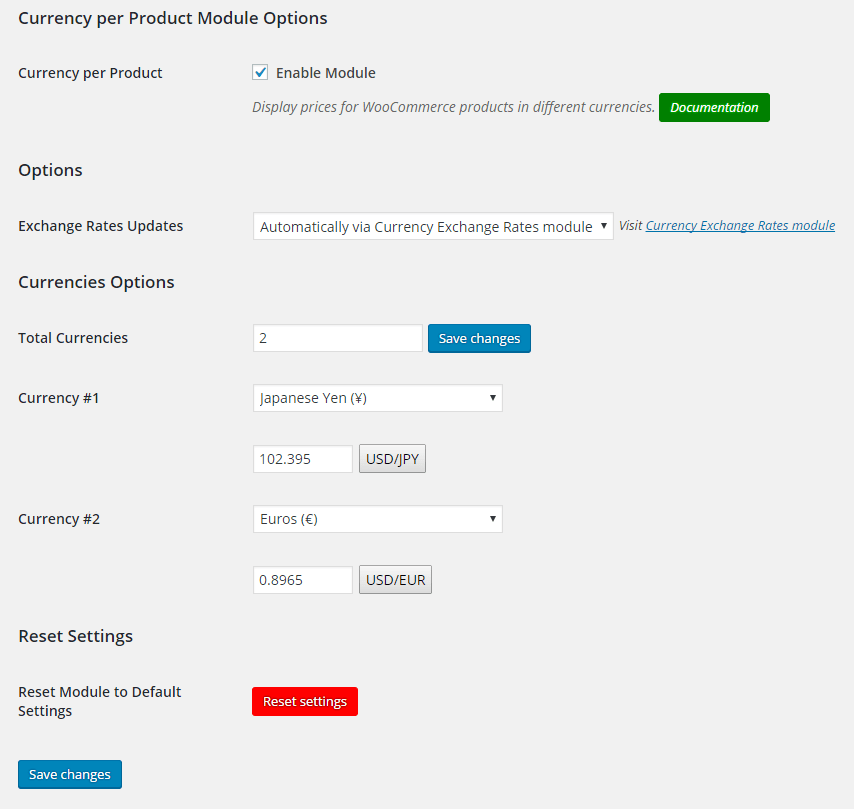 WooCommerce Currency per Product - Admin Settings