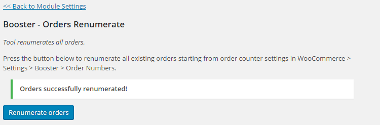 WooCommerce Custom Order Numbers - Orders Renumerate tool