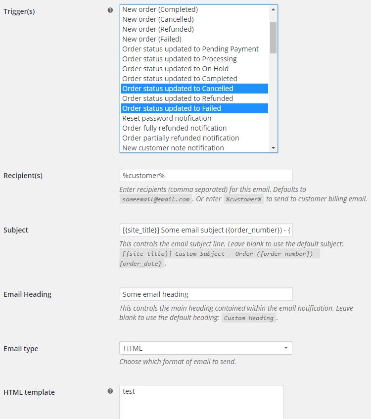 WooCommerce Emails - Admin Settings - Email Settings