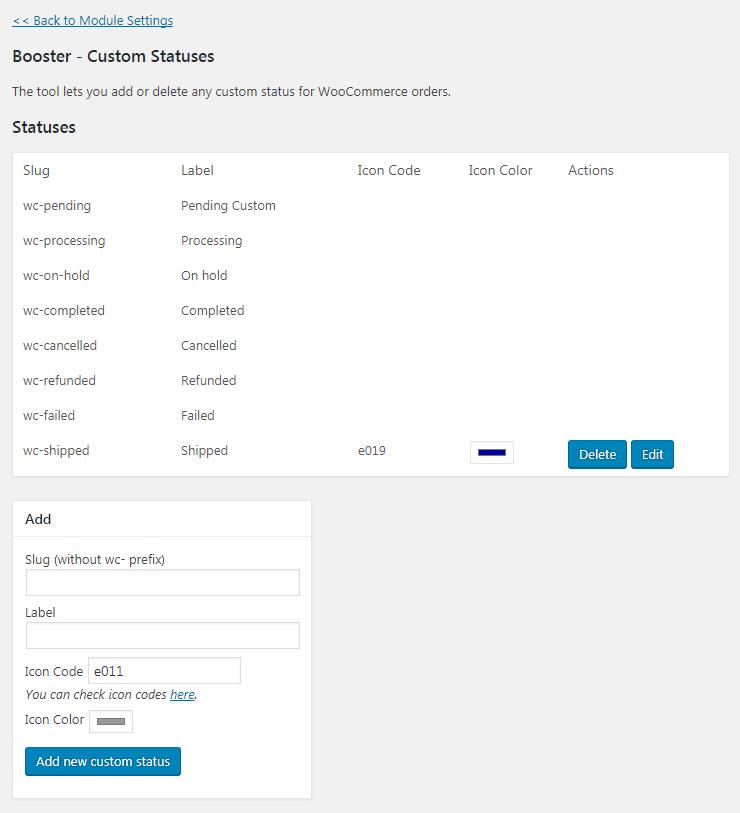 WooCommerce Order Custom Statuses - Custom Statuses Tool