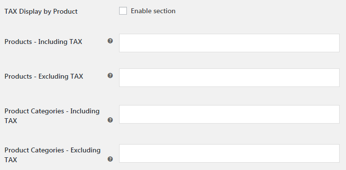 WooCommerce Tax Display - Admin Settings - TAX Display by Product