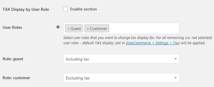 WooCommerce Tax Display - Admin Settings - TAX Display by User Role