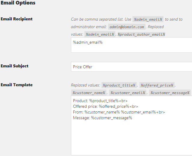 WooCommerce Offer Your Price - Admin Settings - Email Options