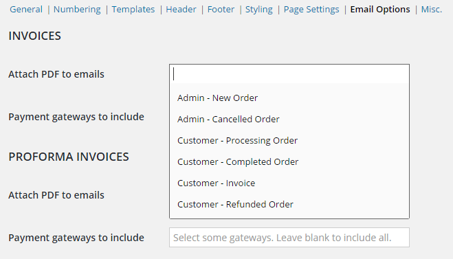 Booster for WooCommerce - WooCommerce PDF Invoicing and Packing Slips - Admin Settings - Email Options