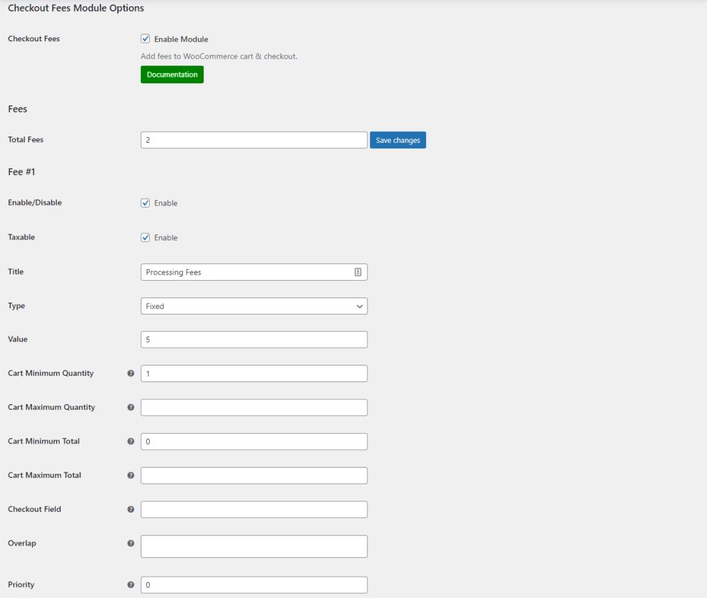 Checkout fees module settings