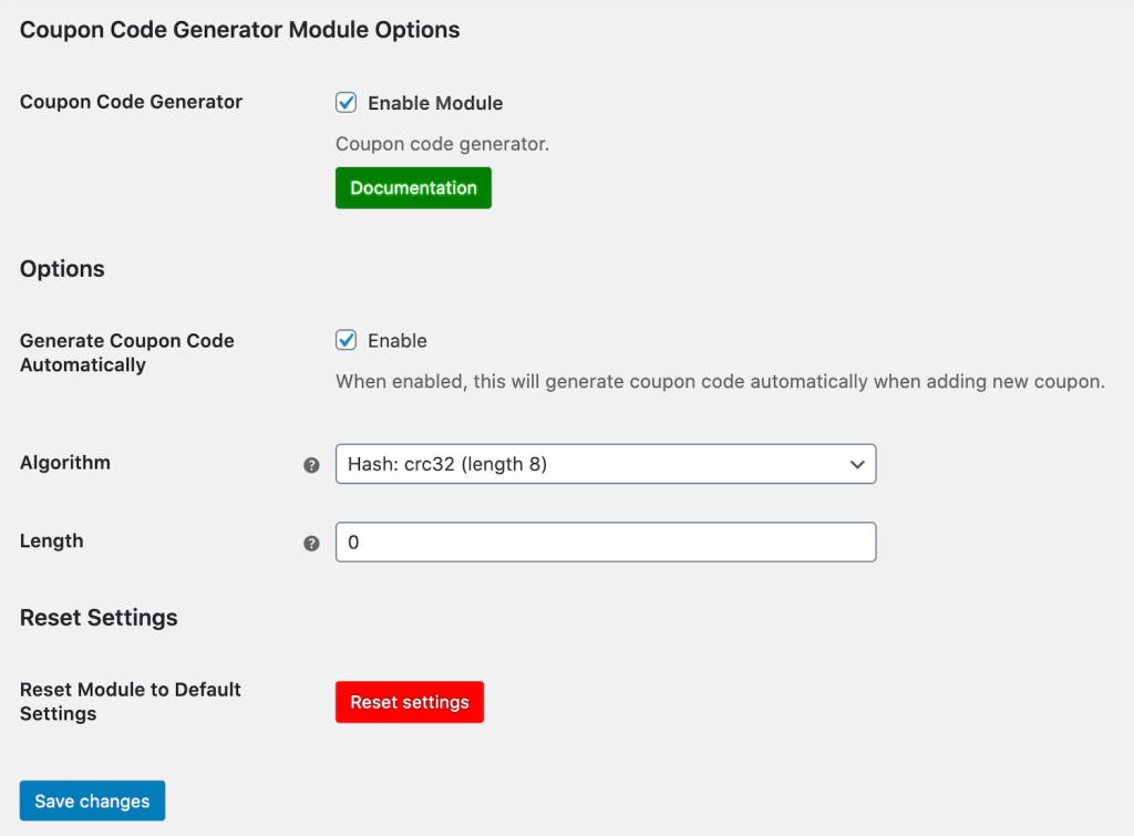 Generate coupon code settings