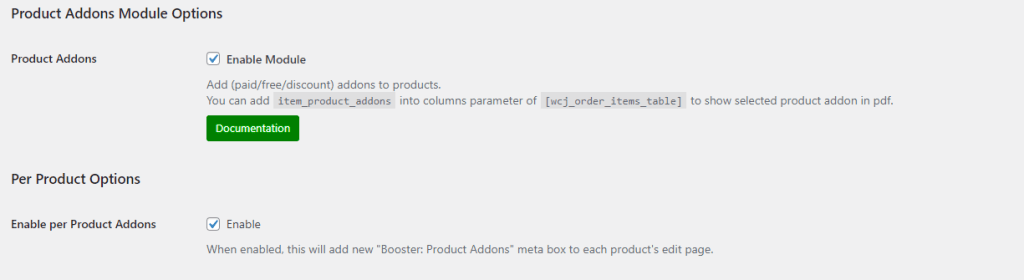Product addons settings