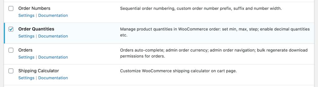 Order quantities module