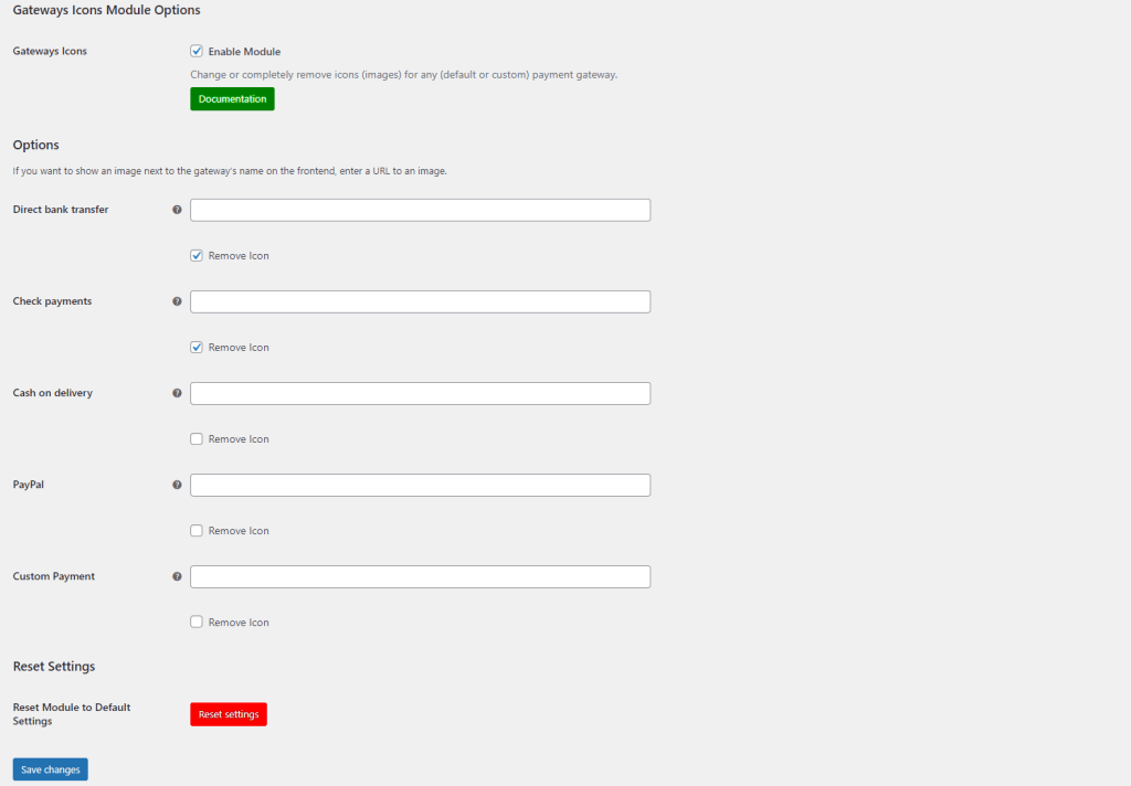 Payment Gateways Icons module settings