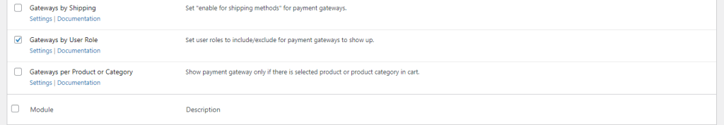 Payment Gateways by User Role module