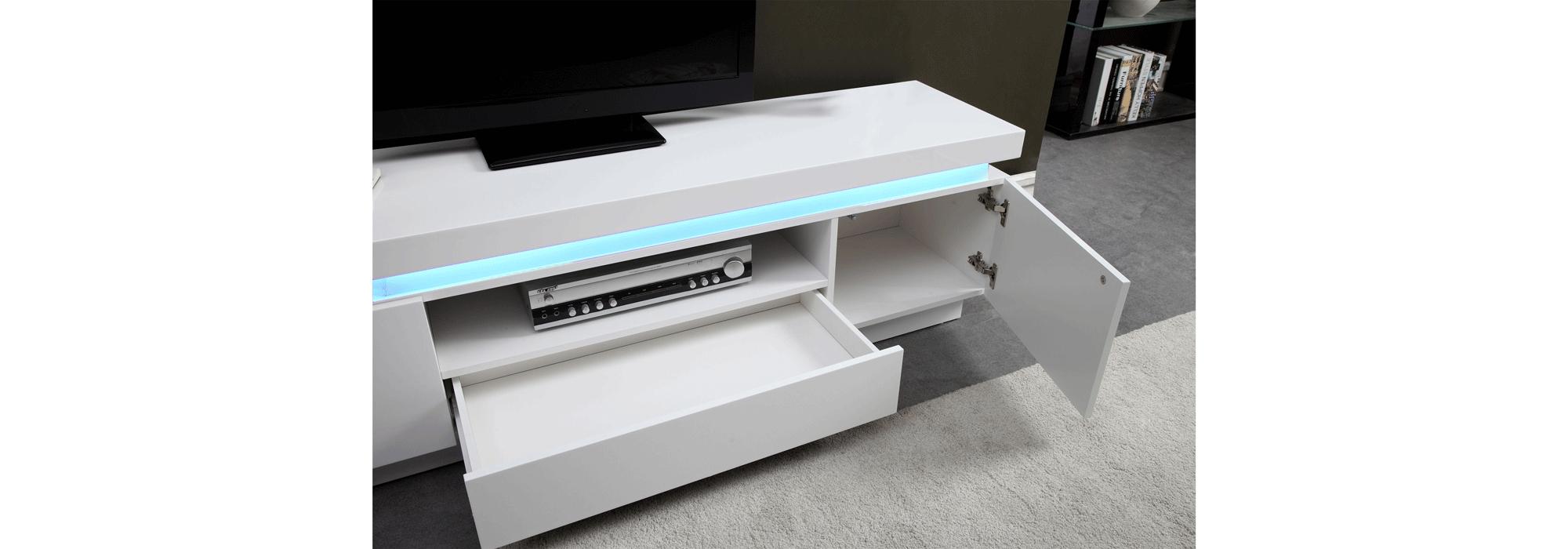 flash meuble tv avec led contemporain blanc laque brillant l 165 cm