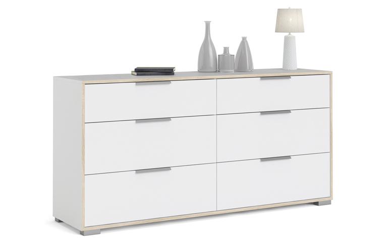 double commode 6 tiroirs decor chene et blanc poignees en metal l 155 6 x p 39 1 x h 76 3 cm ligne