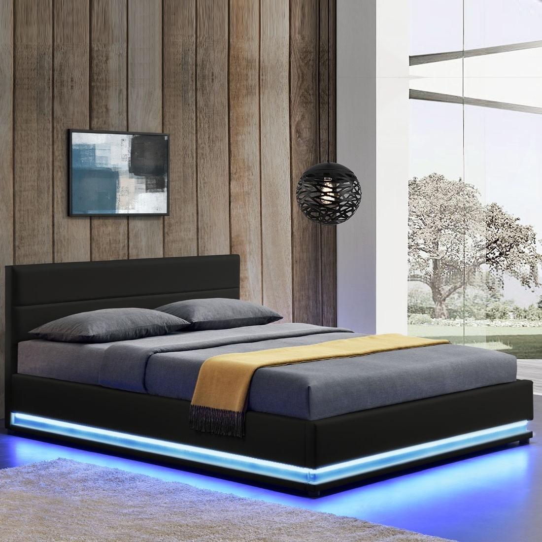 lit led avec coffre de rangement ava 180x200 noir