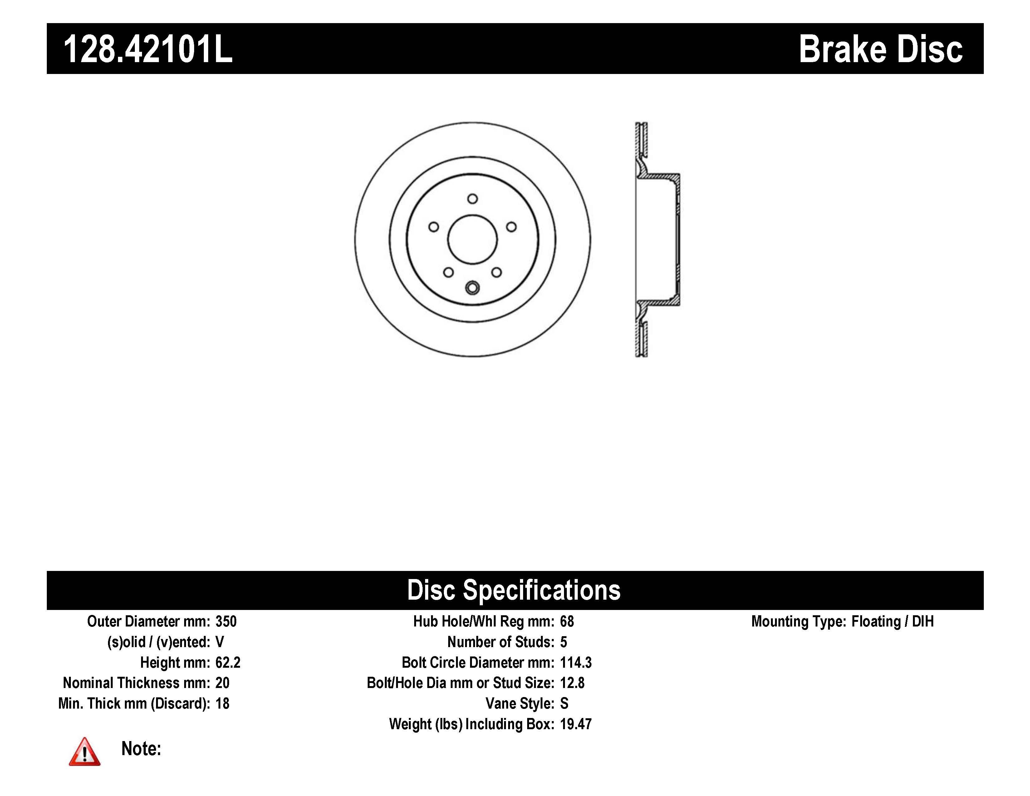 Stoptech Disc Brake Rotor Rear Left For Infiniti G37 Q60