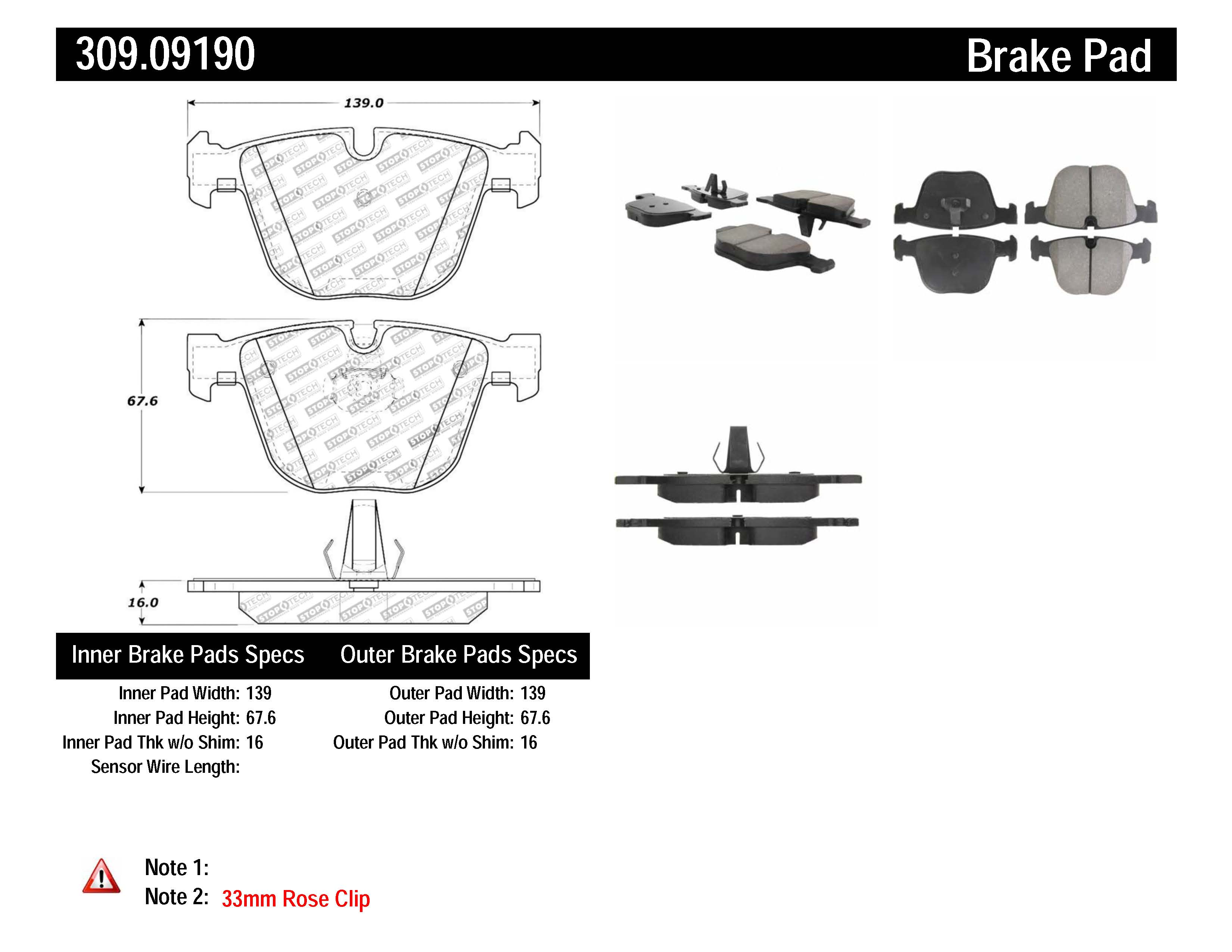 Stoptech Disc Brake Pad Set Rear Centric For Bentley