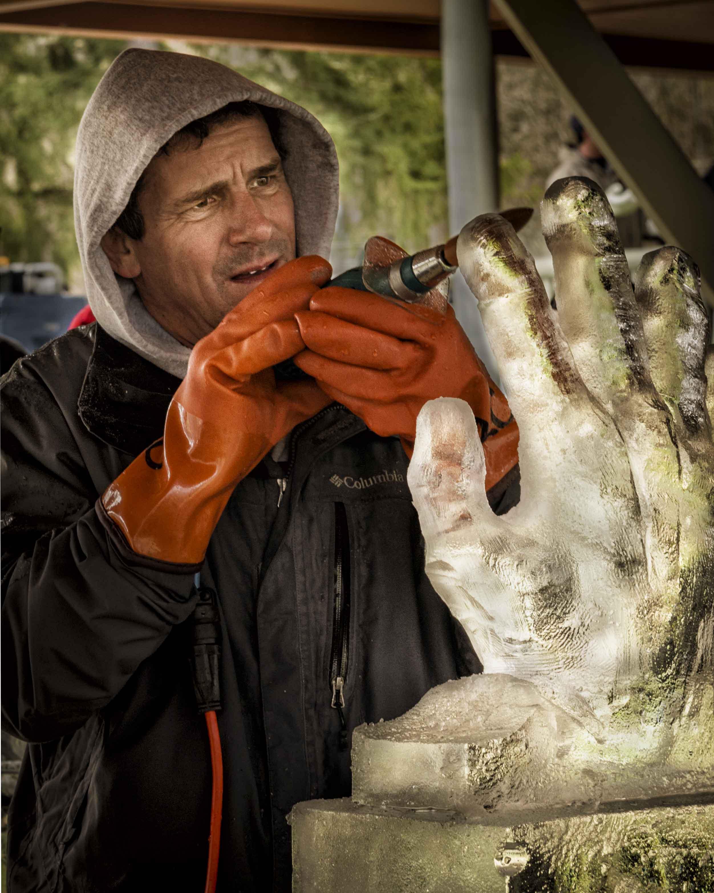 orange gloves hoodie