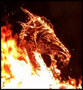 Ice Dragon Head in fire