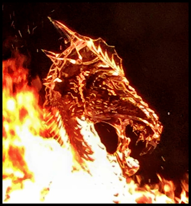 Ice Dragon Head in fire