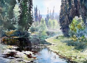 chena river slough by Vladimir Zhikhartsev