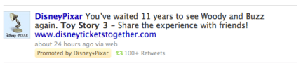 a promoted tweet from Pixar about Toy Story 3