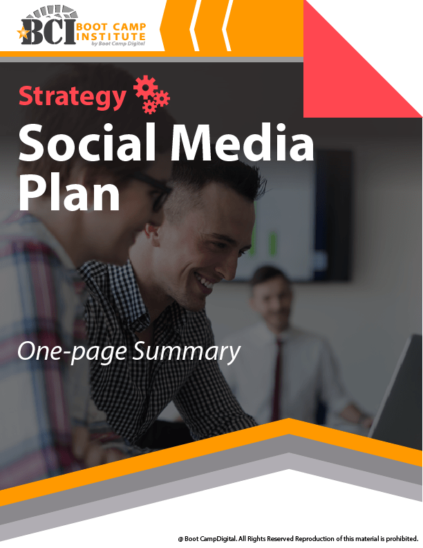 Social Media Strategy Course one page summary plan