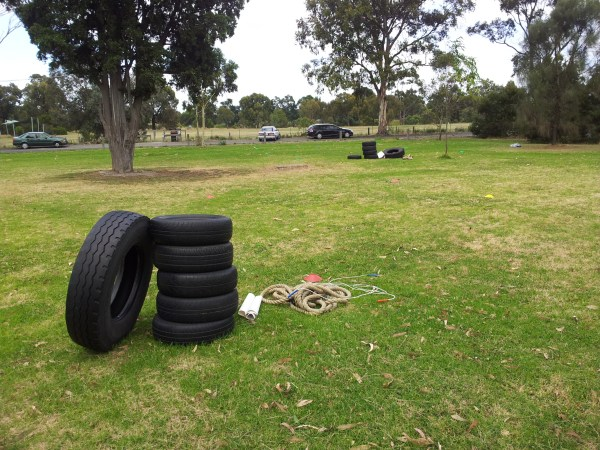 A truck tyre, 5 car tyres and a thin battling rope.