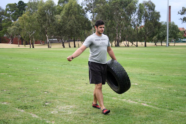 This is me with a tyre off a 4WD. They are much heavier making them a good challenge for your strong clients.