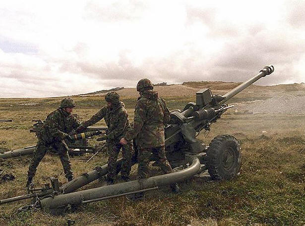 TA Soldiers using 105mm Light Gun, Falklands in 1979.