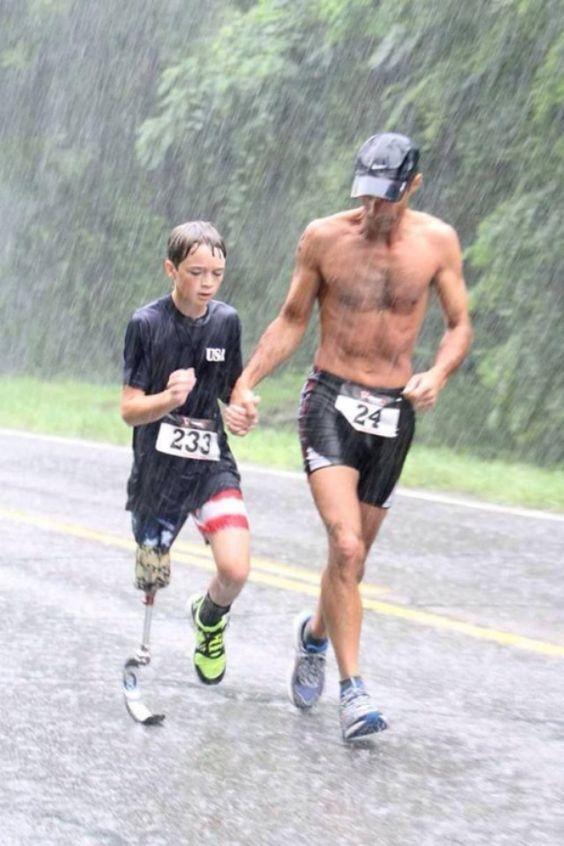Motivation, Disabled, Child, Rain, Running, Prosthetic