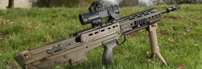 The UK SA80A3 Bullpup Rifle
