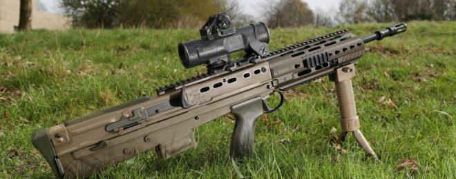 The UK SA80A3 Bullpup Rifle