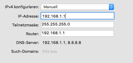 Netzwerkeinstellung auf dem Mac für die erste Verbindung zum Ubiquiti Bullet