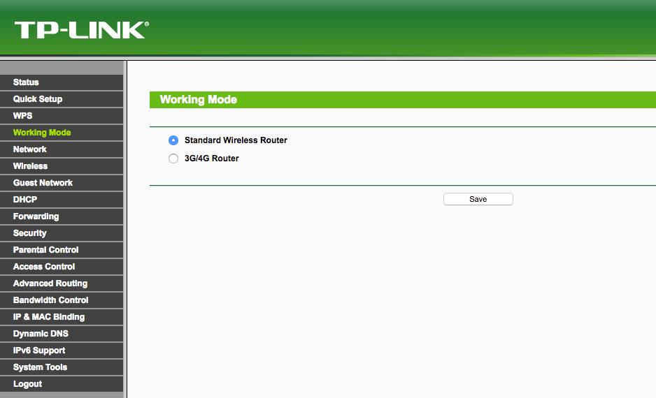 Router Working Mode Einstellung