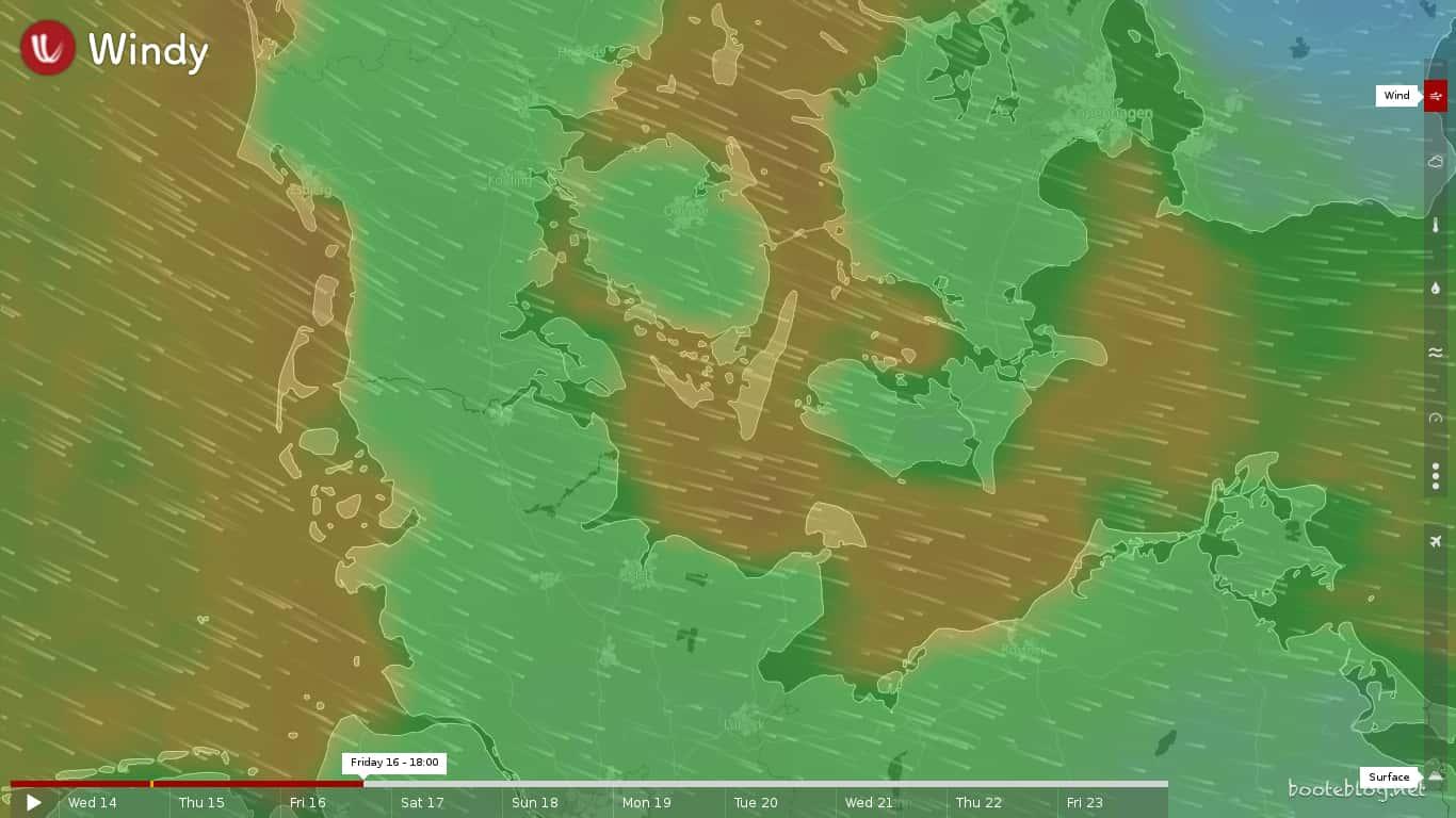 Vorhersage für Freitag, 16. Juni 2017 von windy.com