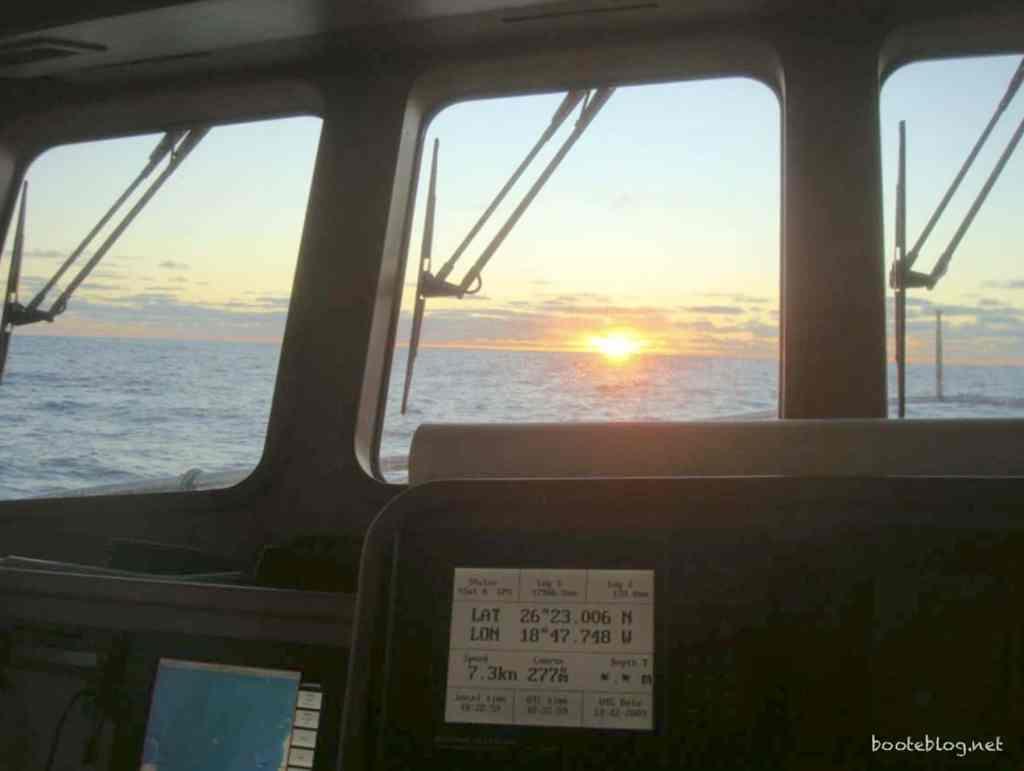 Der erste Morgen auf dem Atlantik.