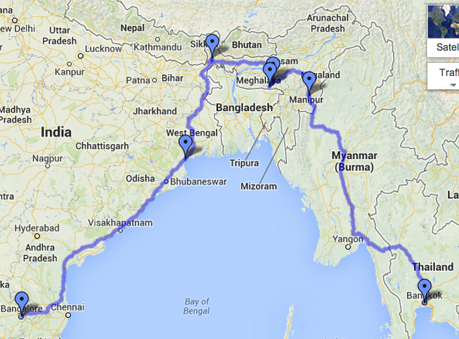The Perfect Roadtrip  Bangalore to Bangkok  through Myanmar  long     Driving directions to Bangkok Thailand   Google Maps 2013 07 26 21 27