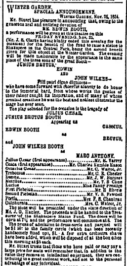 Booth Shakespeare Benefit 1864 advertisement