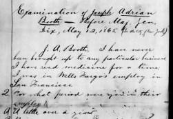 Examination of Joseph Adrian Booth 5-12-1865