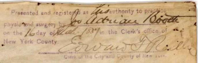 Joseph Booth Signature on Med License ALPLM