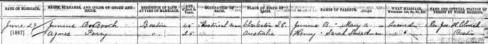 Marriage Record JBB to Agnes