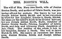 Mrs Booth's Will