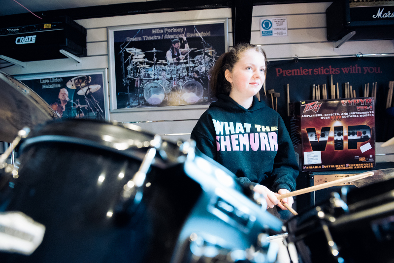 Emily on the Drums
