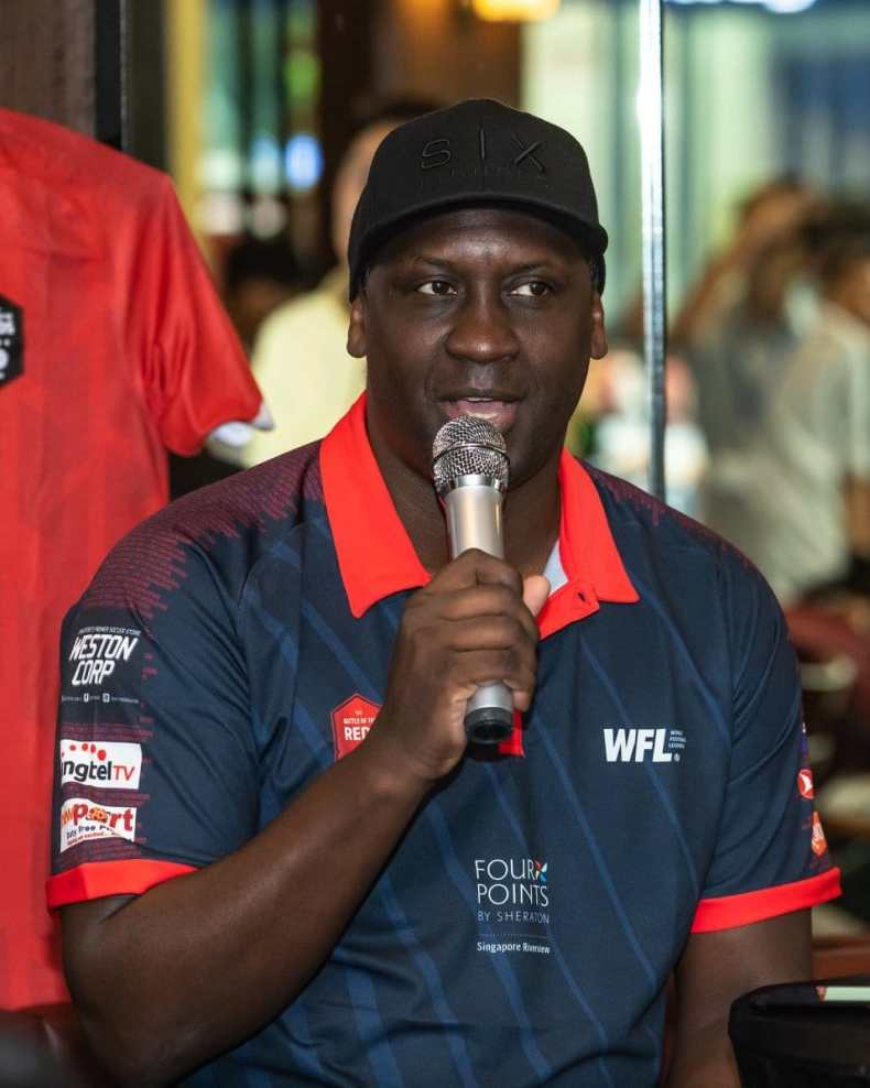 emile heskey of liverpool in a singapore meet and greet at jack's place