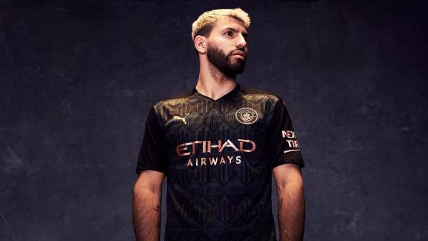 manchester city away 20/21 puma sergio aguero football kit soccer jersey