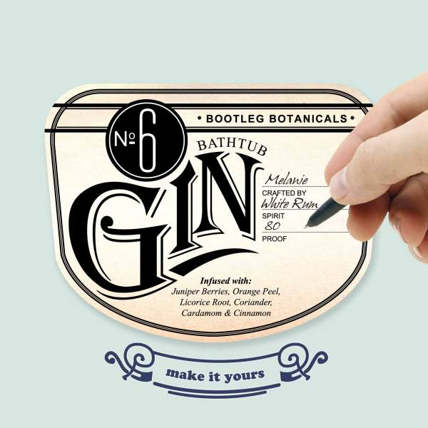 Personalizable Vintage Inspired Gin Bottle Label