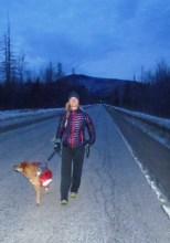 Lindsay going for an evening walk with the pooch