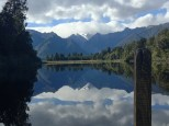 Reflection lake with the Southern Alps on a clear day