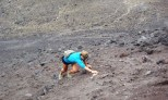 Lindsay climbing up the volcanic scree, hand over hand!