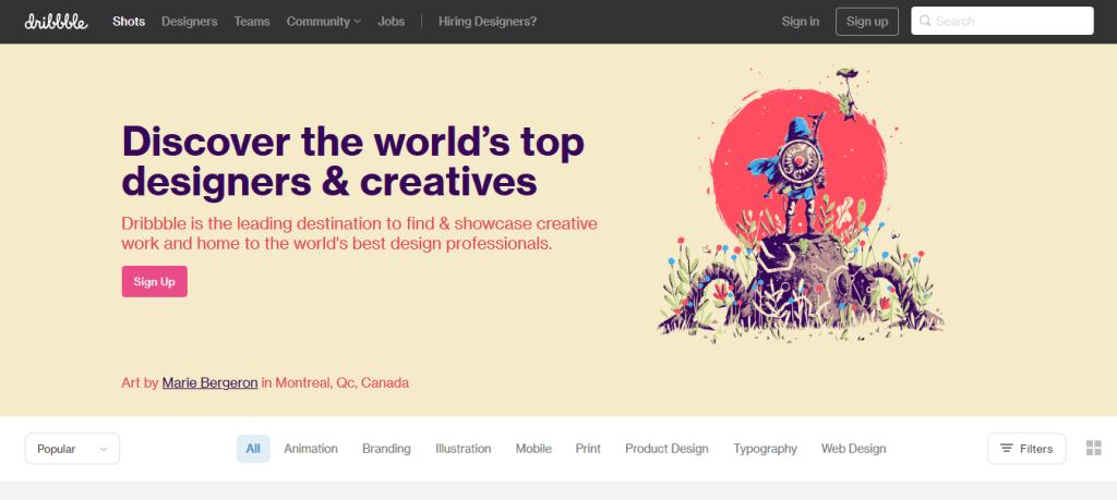 dribbble site d'idée et d'inspiration pour designer