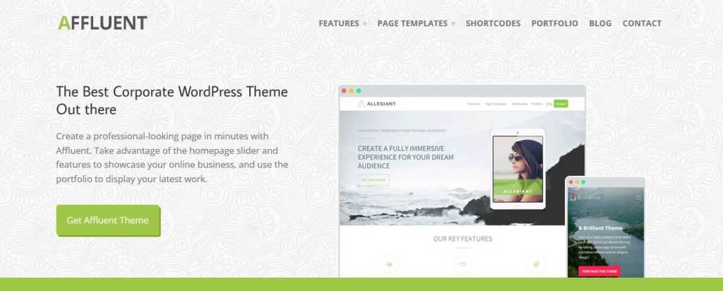 affluent : Thème wordpress gratuit responsive pour site d'entreprise